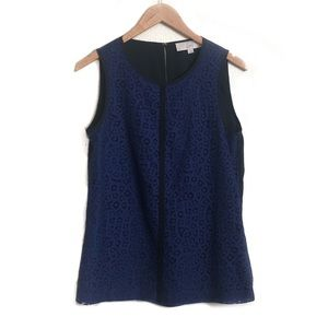 Loft eyelet lace navy blue blouse #E10